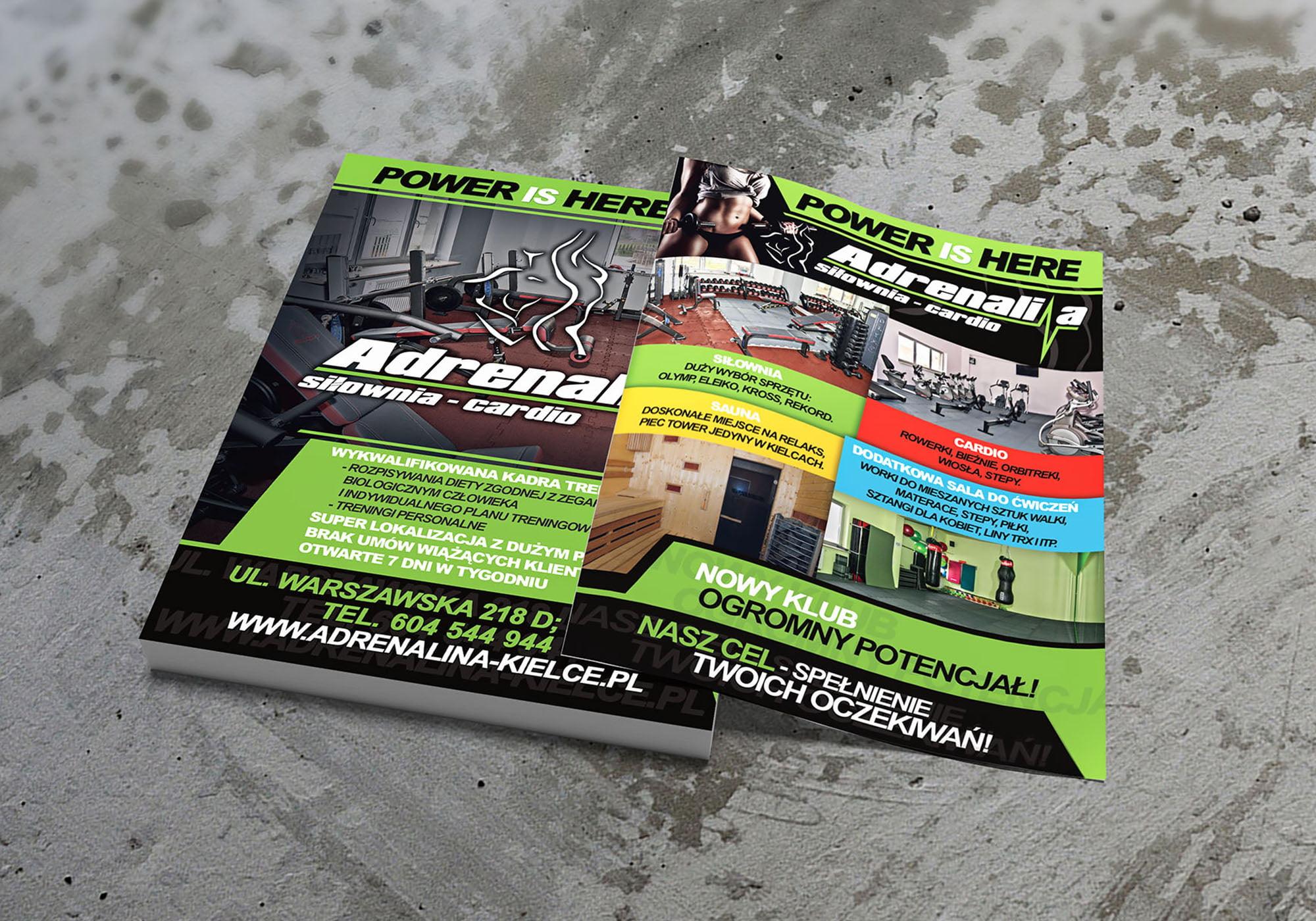 A5 Projekt Ulotka Adrenalina Realizacja Sto15 Studio Piotr Ratuski