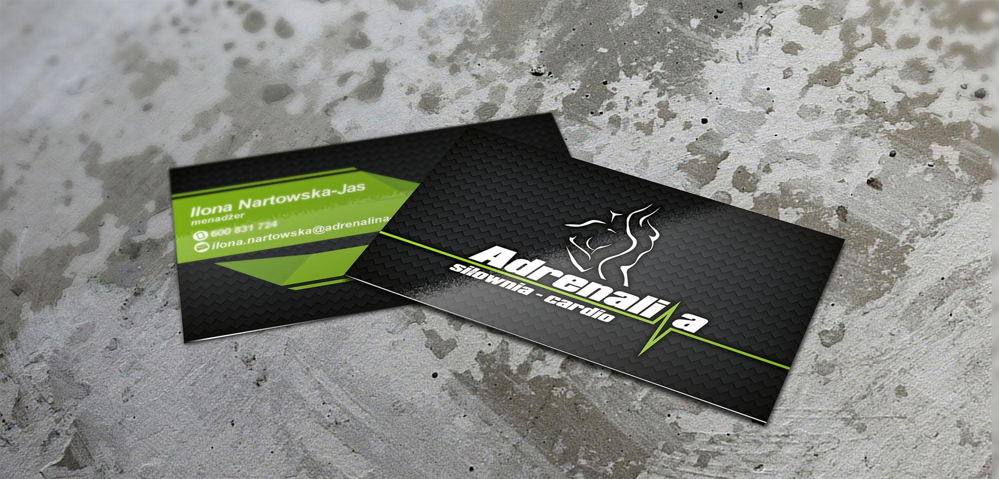 Projekt Wizytówki Adrenalina Realizacja Sto15 Studio Piotr Ratuski